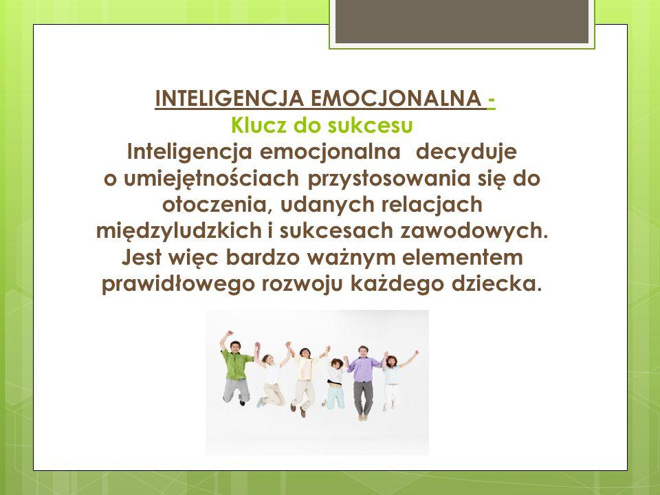 INTELIGENCJA EMOCJONALNA - Klucz do sukcesu Inteligencja emocjonalna decyduje o umiejętnościach przystosowania się do otoczenia, udanych relacjach międzyludzkich i sukcesach zawodowych.