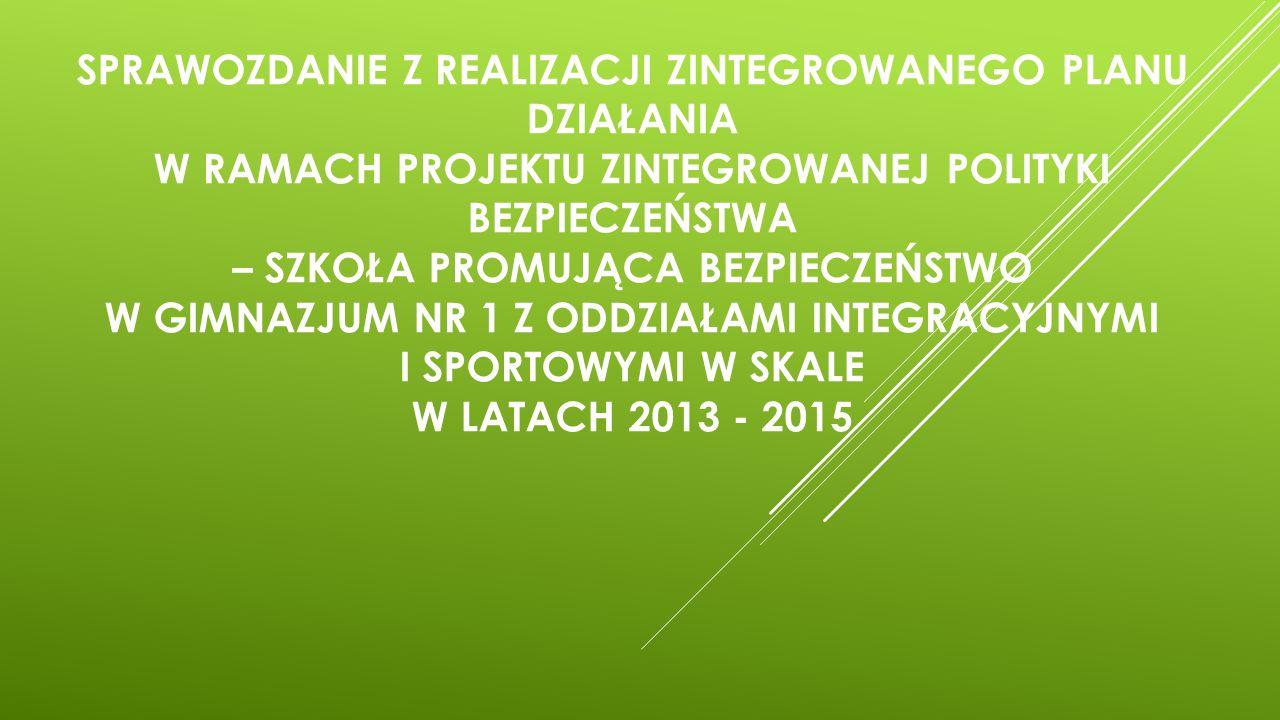 Sprawozdanie z realizacji Zintegrowanego Planu Działania w ramach projektu Zintegrowanej Polityki Bezpieczeństwa – Szkoła Promująca Bezpieczeństwo w Gimnazjum nr 1 z Oddziałami Integracyjnymi i Sportowymi w Skale w latach 2013 - 2015