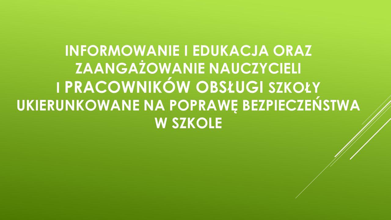 Informowanie i edukacja oraz zaangażowanie nauczycieli i pracowników obsługi szkoły ukierunkowane na poprawę bezpieczeństwa w szkole