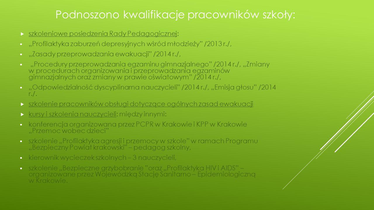 Podnoszono kwalifikacje pracowników szkoły: