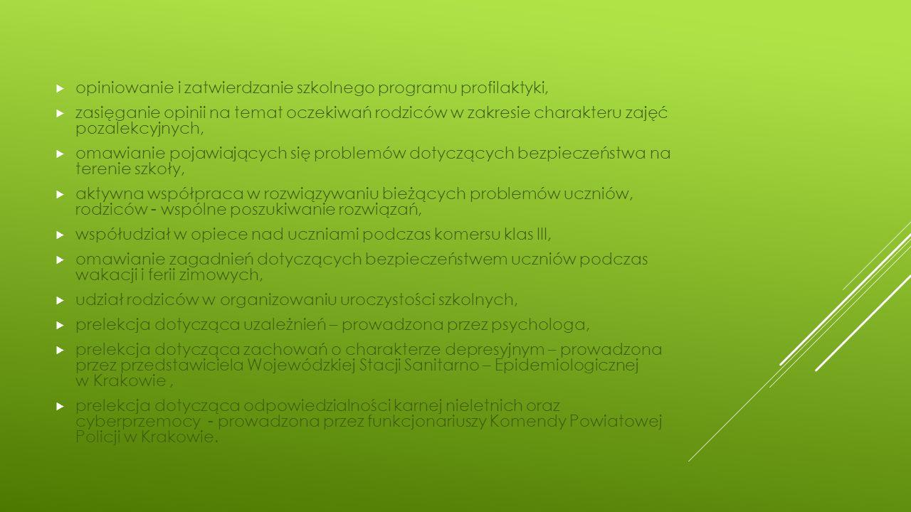 opiniowanie i zatwierdzanie szkolnego programu profilaktyki,