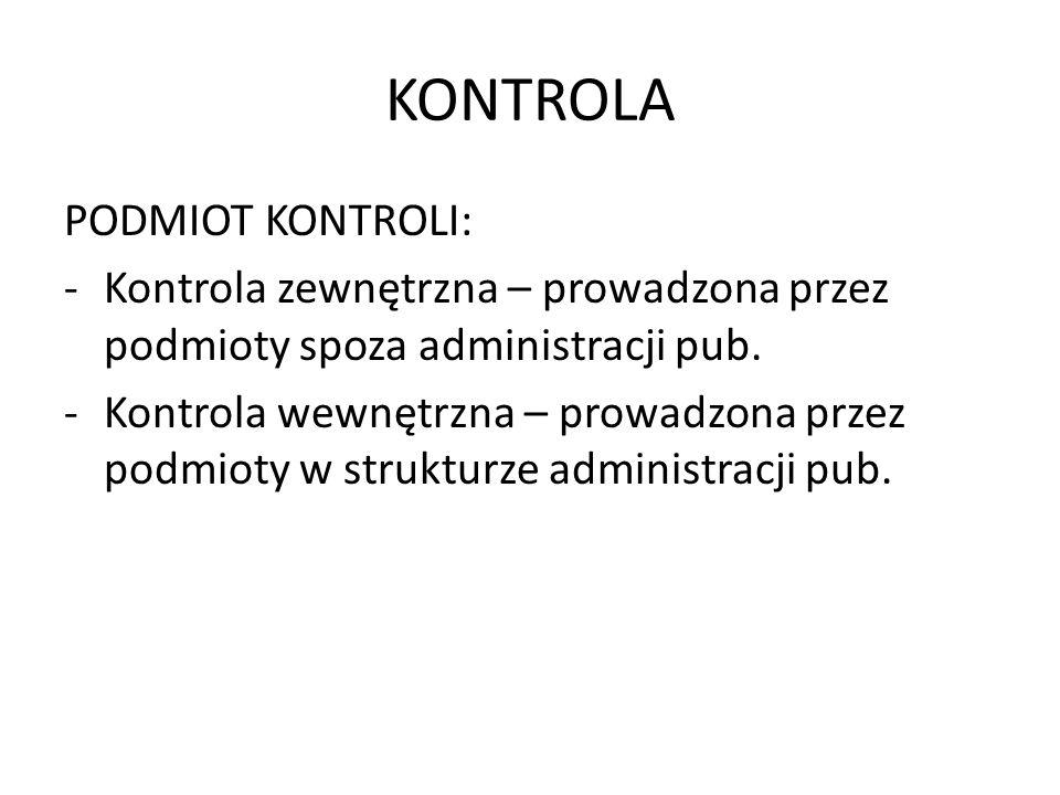 KONTROLA PODMIOT KONTROLI:
