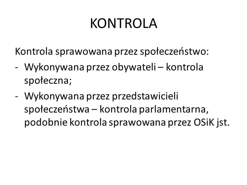KONTROLA Kontrola sprawowana przez społeczeństwo: