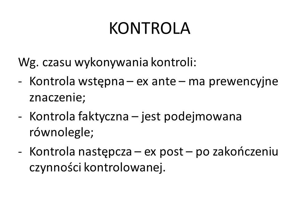 KONTROLA Wg. czasu wykonywania kontroli: