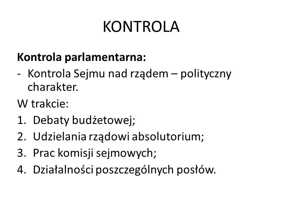 KONTROLA Kontrola parlamentarna:
