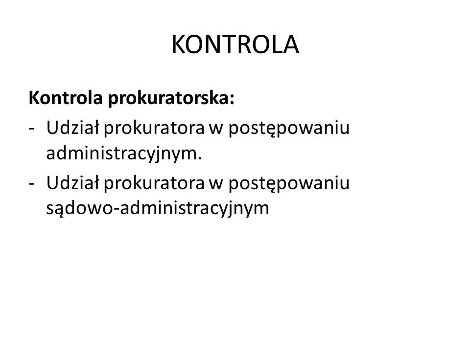 KONTROLA Kontrola prokuratorska: