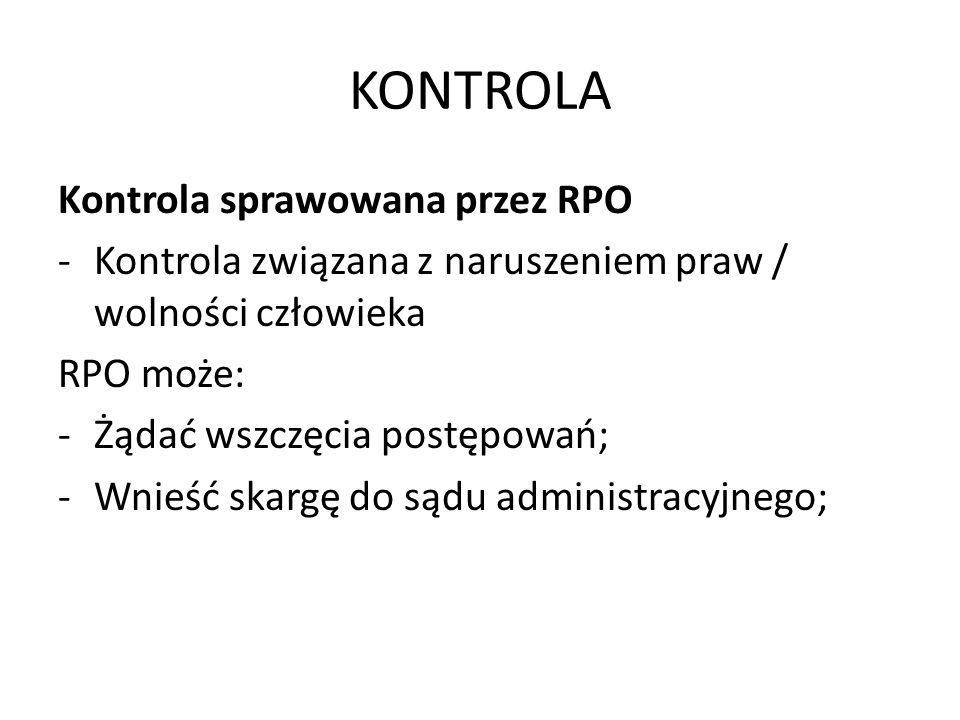 KONTROLA Kontrola sprawowana przez RPO