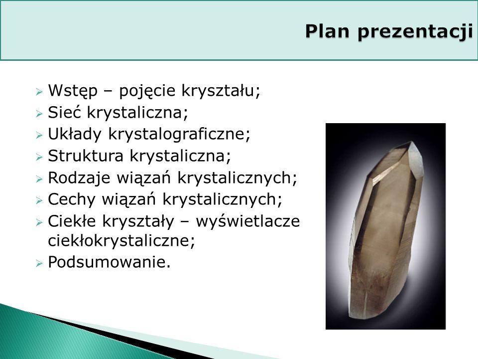 Plan prezentacji Wstęp – pojęcie kryształu; Sieć krystaliczna;