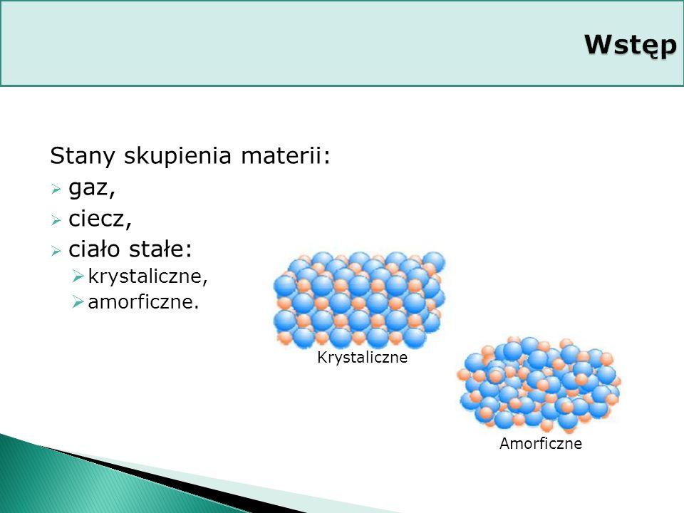 Wstęp Stany skupienia materii: gaz, ciecz, ciało stałe: krystaliczne,
