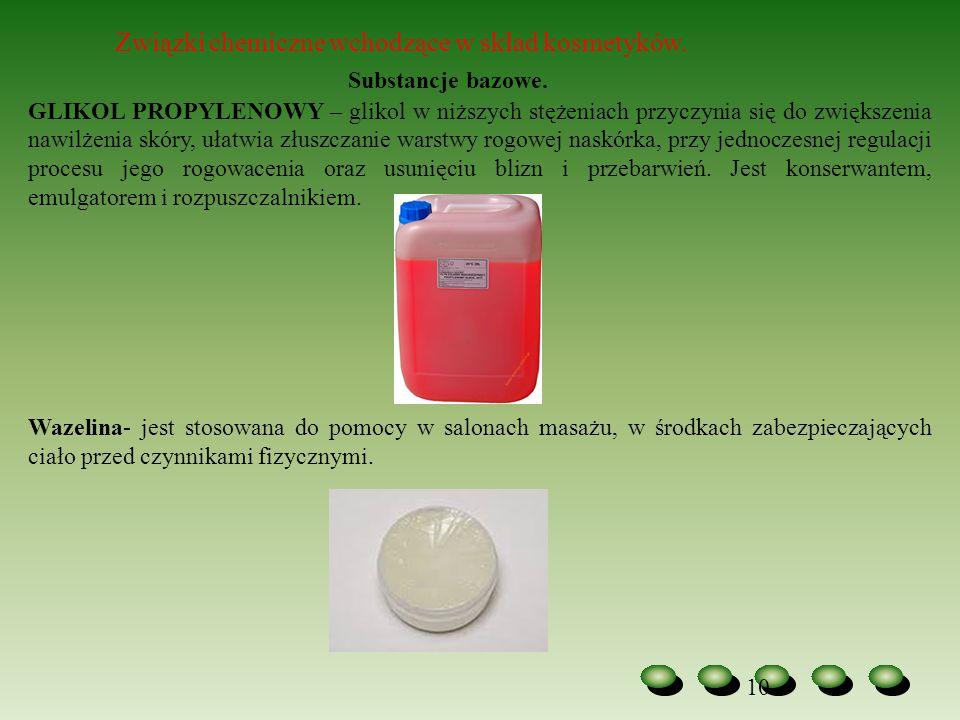 Substancje bazowe. Związki chemiczne wchodzące w skład kosmetyków.