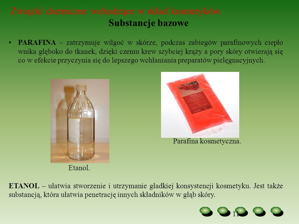 Substancje bazowe Związki chemiczne wchodzące w skład kosmetyków.