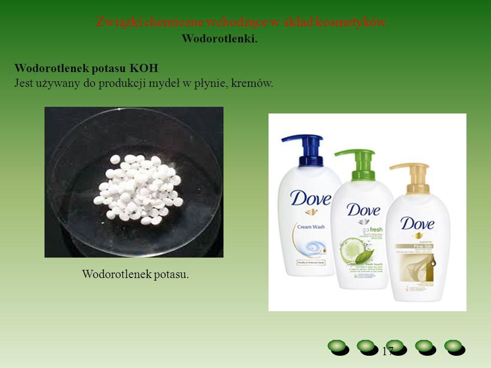 Związki chemiczne wchodzące w skład kosmetyków. Wodorotlenki.