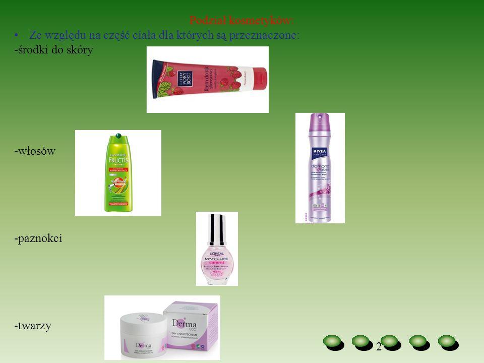 Podział kosmetyków: Ze względu na część ciała dla których są przeznaczone: -środki do skóry. -włosów.