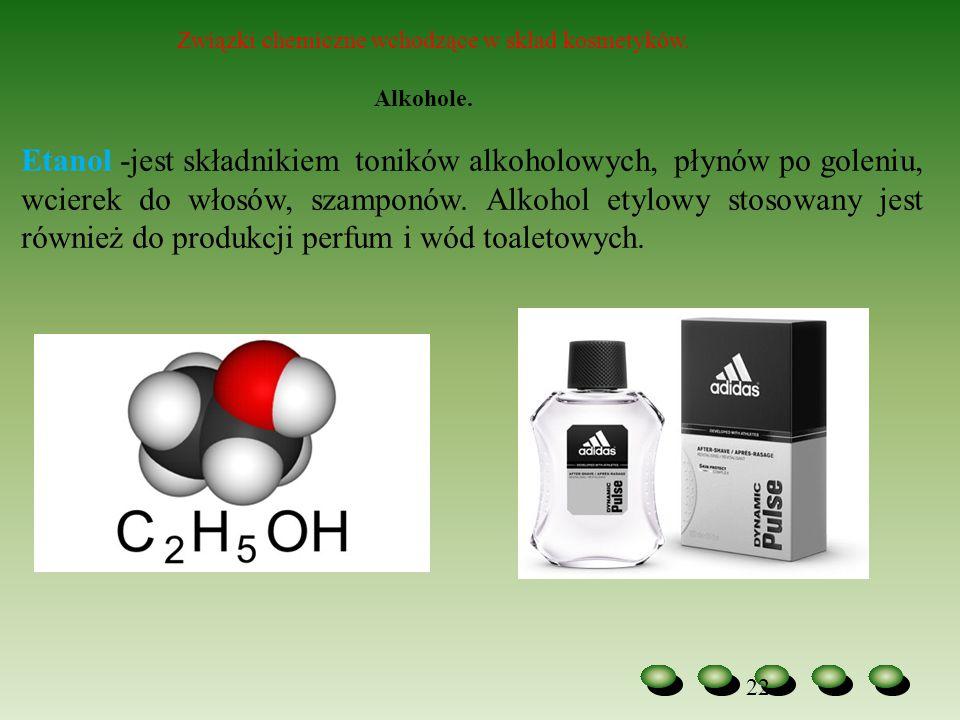 Związki chemiczne wchodzące w skład kosmetyków.