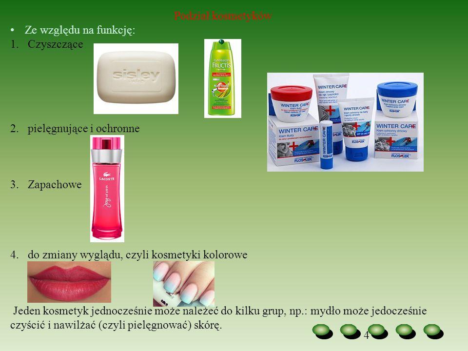 Podział kosmetyków Ze względu na funkcję: Czyszczące. pielęgnujące i ochronne. Zapachowe. do zmiany wyglądu, czyli kosmetyki kolorowe.