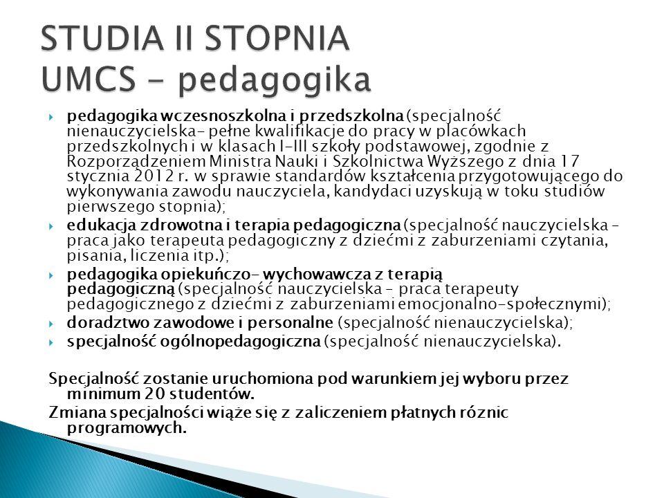 STUDIA II STOPNIA UMCS - pedagogika