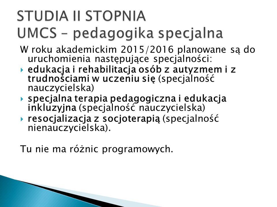 STUDIA II STOPNIA UMCS – pedagogika specjalna
