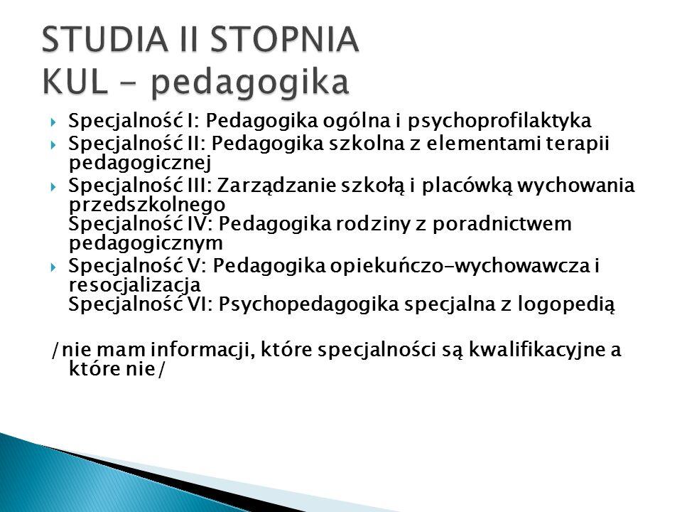 STUDIA II STOPNIA KUL - pedagogika