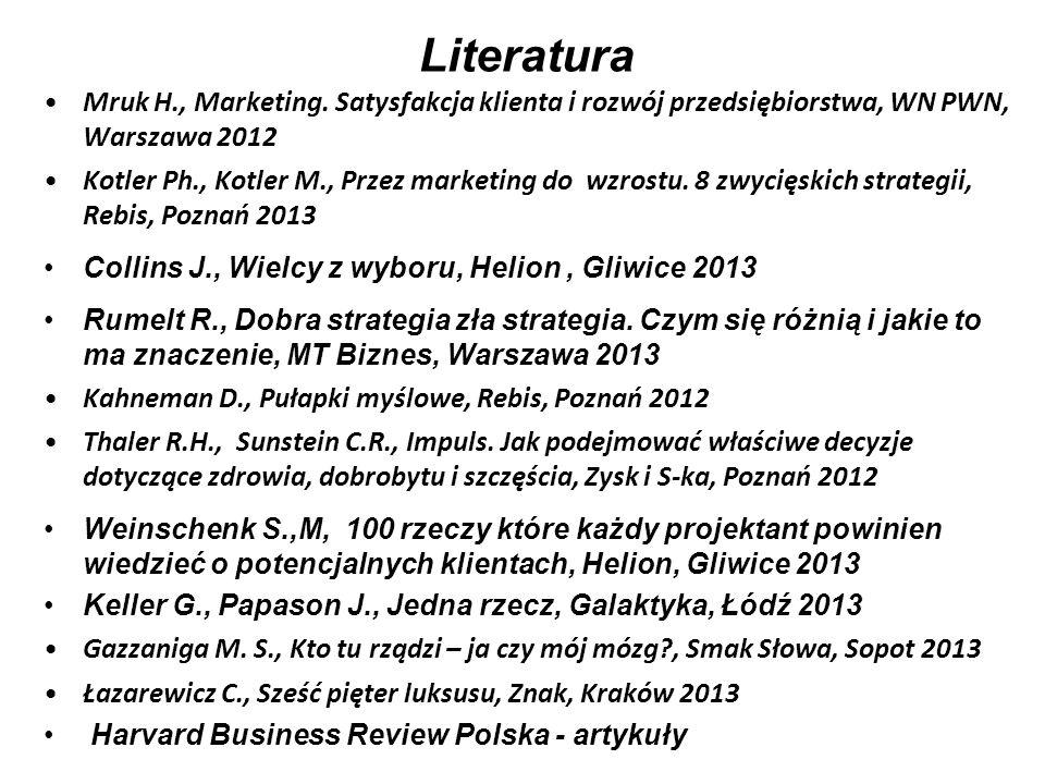 Literatura Mruk H., Marketing. Satysfakcja klienta i rozwój przedsiębiorstwa, WN PWN, Warszawa 2012.