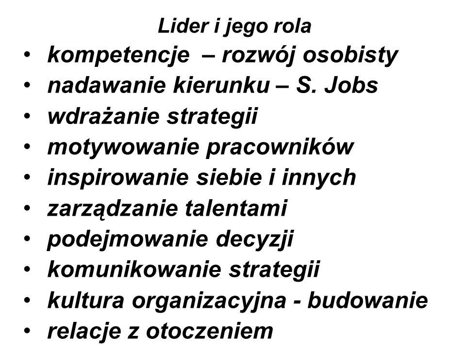 kompetencje – rozwój osobisty nadawanie kierunku – S. Jobs