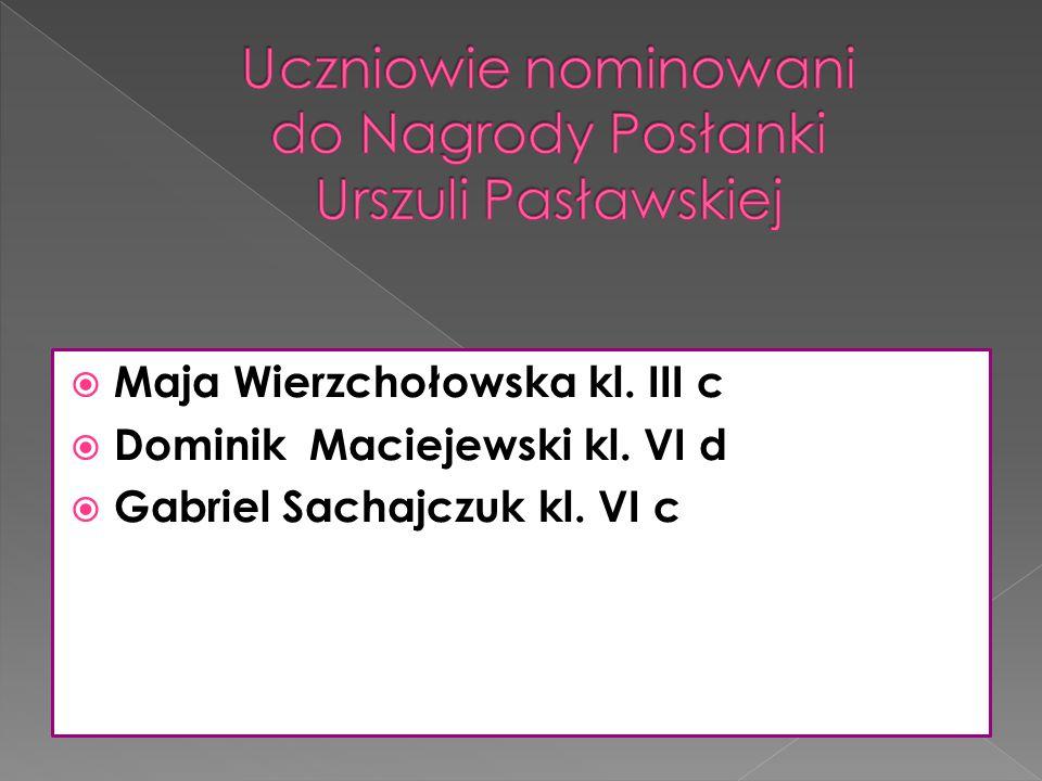 Uczniowie nominowani do Nagrody Posłanki Urszuli Pasławskiej