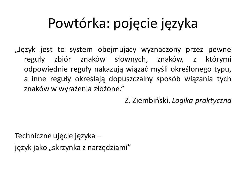 Powtórka: pojęcie języka