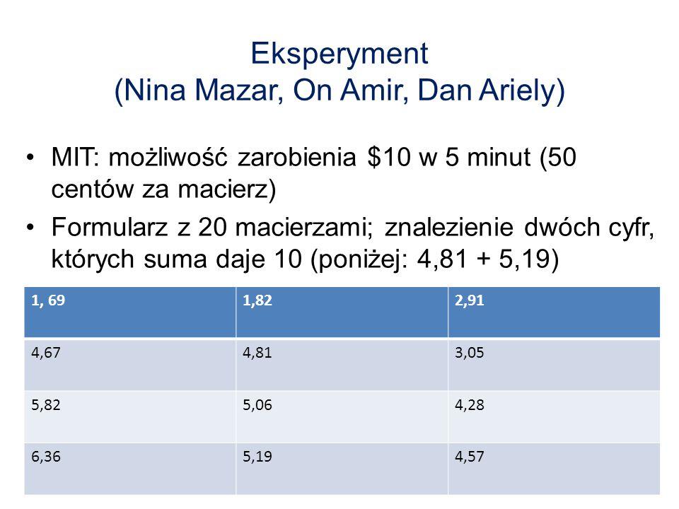 Eksperyment (Nina Mazar, On Amir, Dan Ariely)