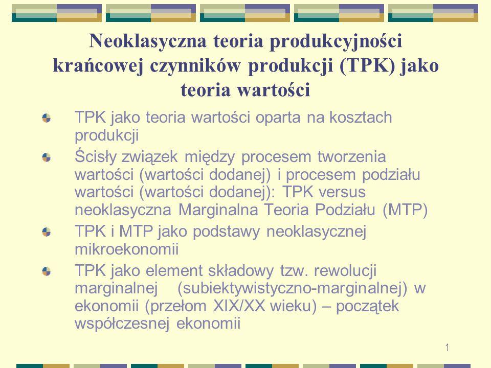 Neoklasyczna teoria produkcyjności krańcowej czynników produkcji (TPK) jako teoria wartości