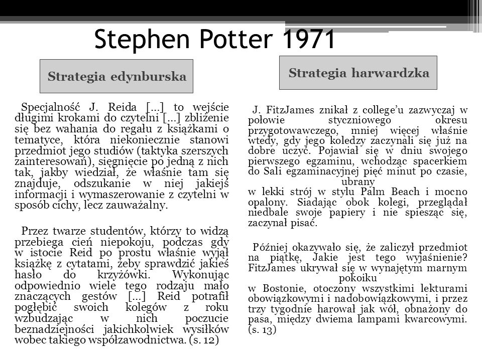 Stephen Potter 1971 Strategia harwardzka Strategia edynburska