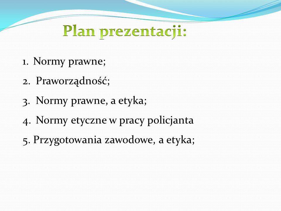 Plan prezentacji: Normy prawne; Praworządność; Normy prawne, a etyka;