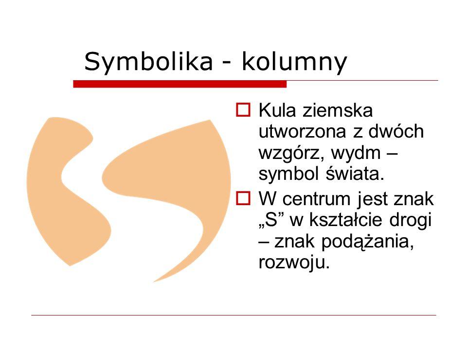 Symbolika - kolumny Kula ziemska utworzona z dwóch wzgórz, wydm – symbol świata.