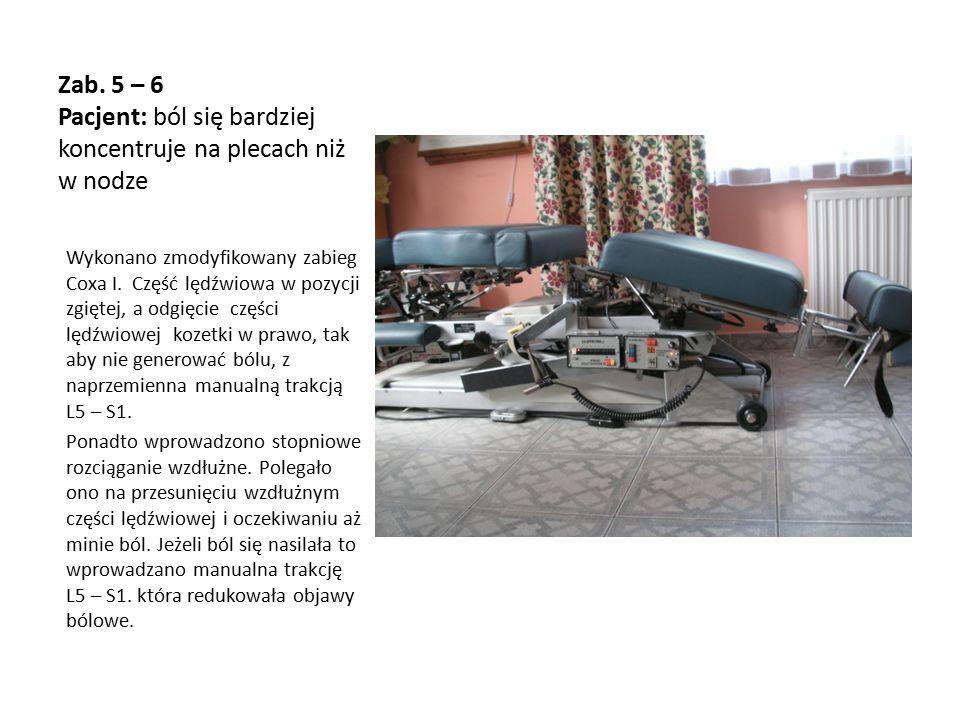 Zab. 5 – 6 Pacjent: ból się bardziej koncentruje na plecach niż w nodze