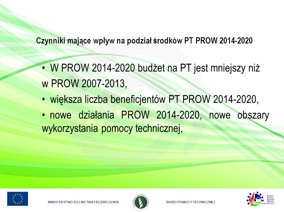 Czynniki mające wpływ na podział środków PT PROW 2014-2020