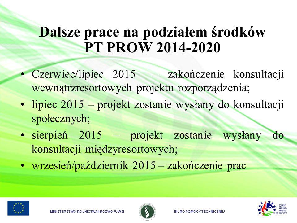 Dalsze prace na podziałem środków PT PROW 2014-2020