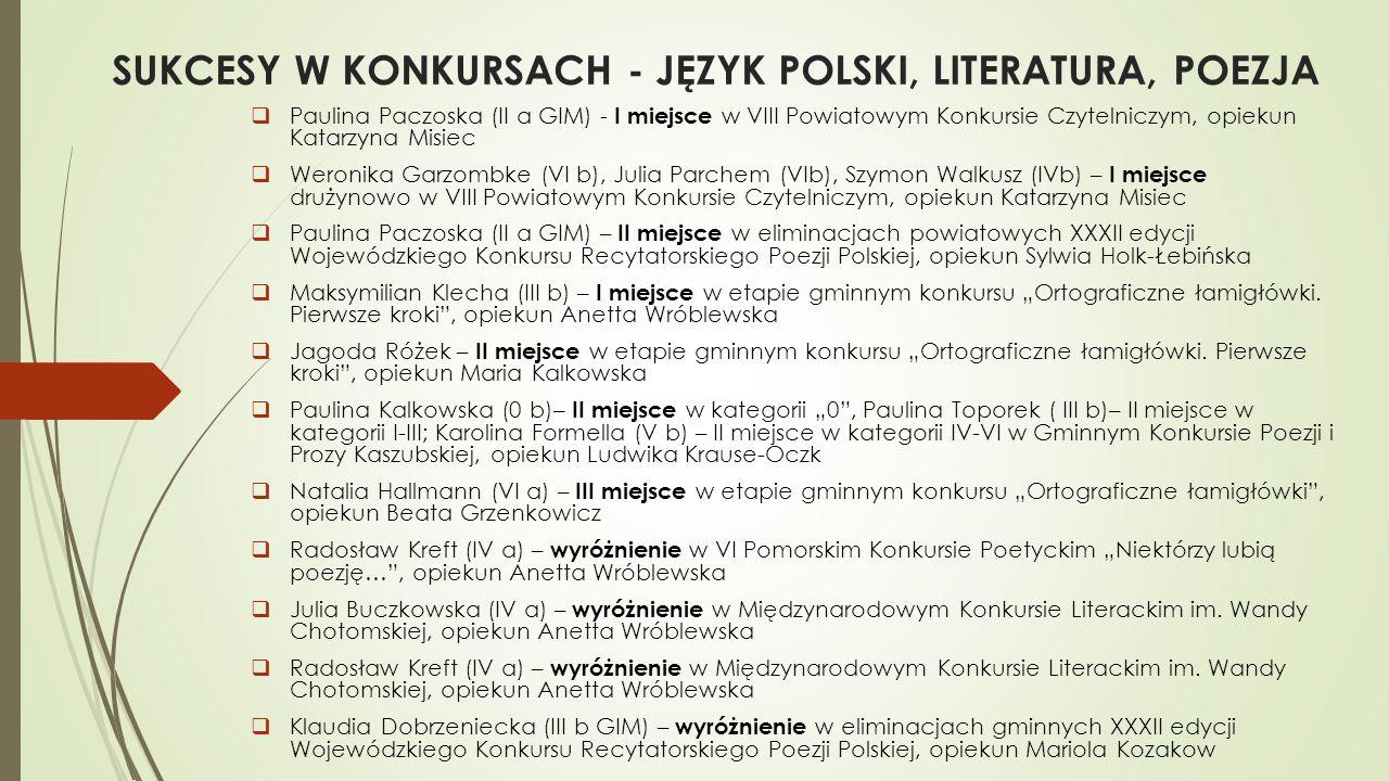 SUKCESY W KONKURSACH - JĘZYK POLSKI, LITERATURA, POEZJA