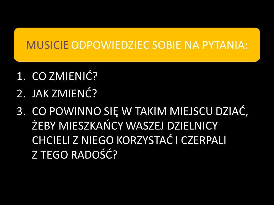 MUSICIE ODPOWIEDZIEC SOBIE NA PYTANIA:
