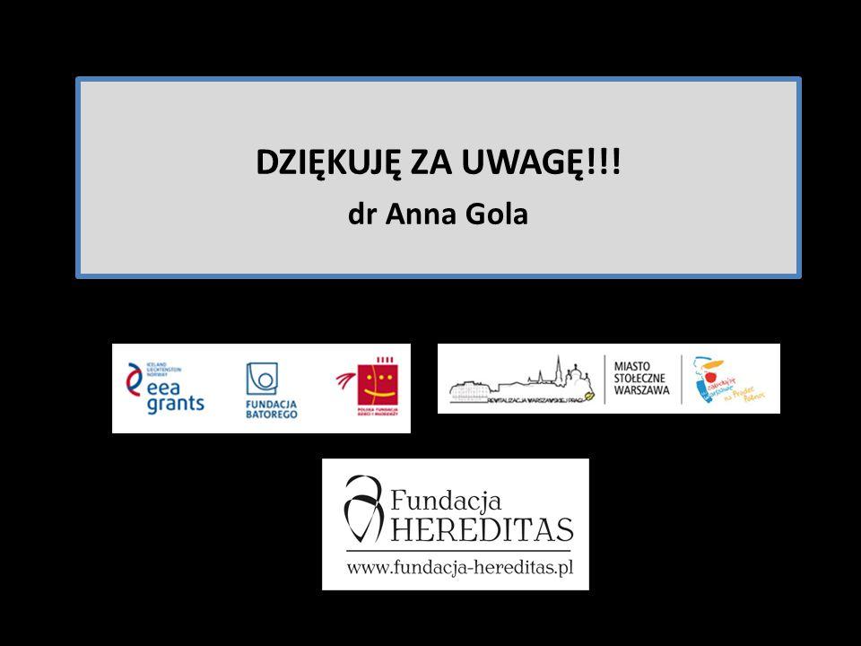 DZIĘKUJĘ ZA UWAGĘ!!! dr Anna Gola