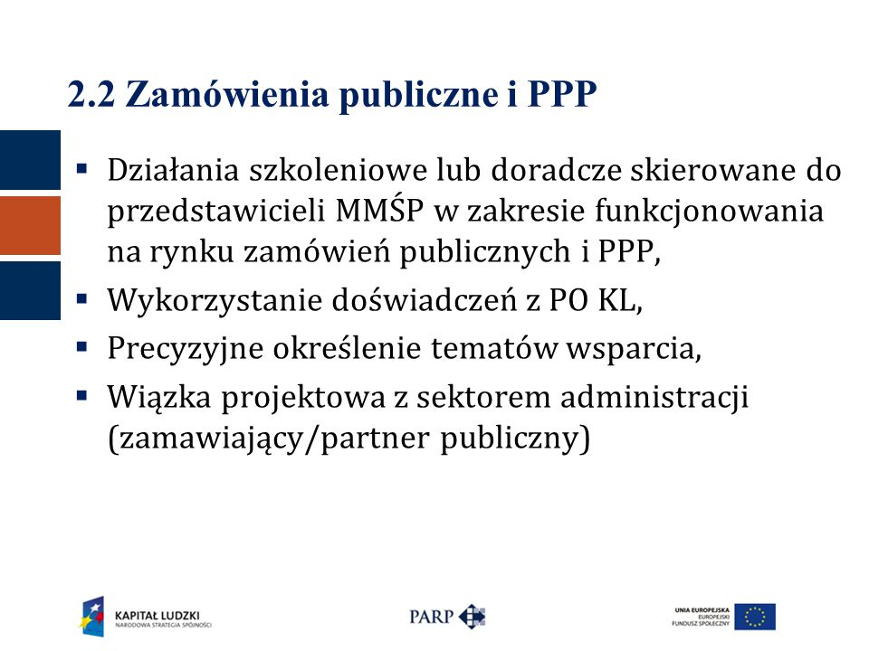 2.2 Zamówienia publiczne i PPP