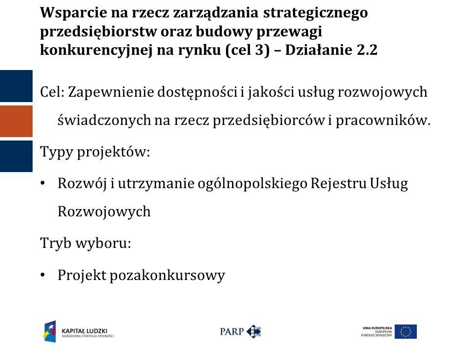 Wsparcie na rzecz zarządzania strategicznego przedsiębiorstw oraz budowy przewagi konkurencyjnej na rynku (cel 3) – Działanie 2.2