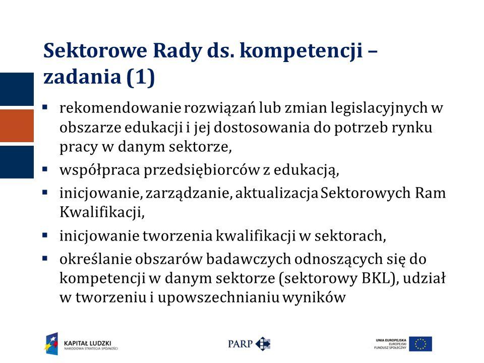 Sektorowe Rady ds. kompetencji – zadania (1)