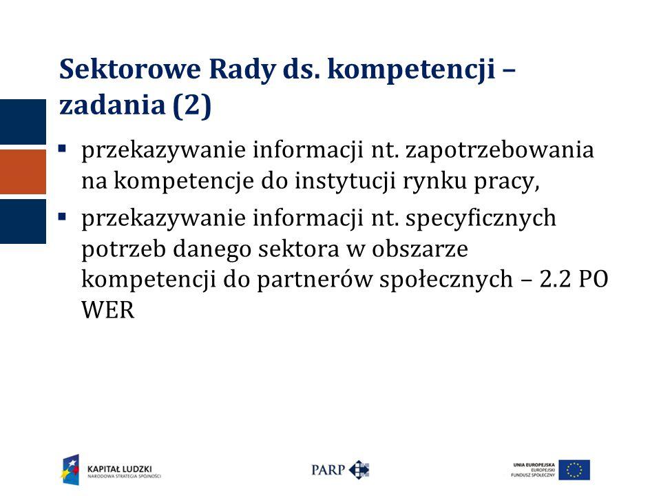 Sektorowe Rady ds. kompetencji – zadania (2)