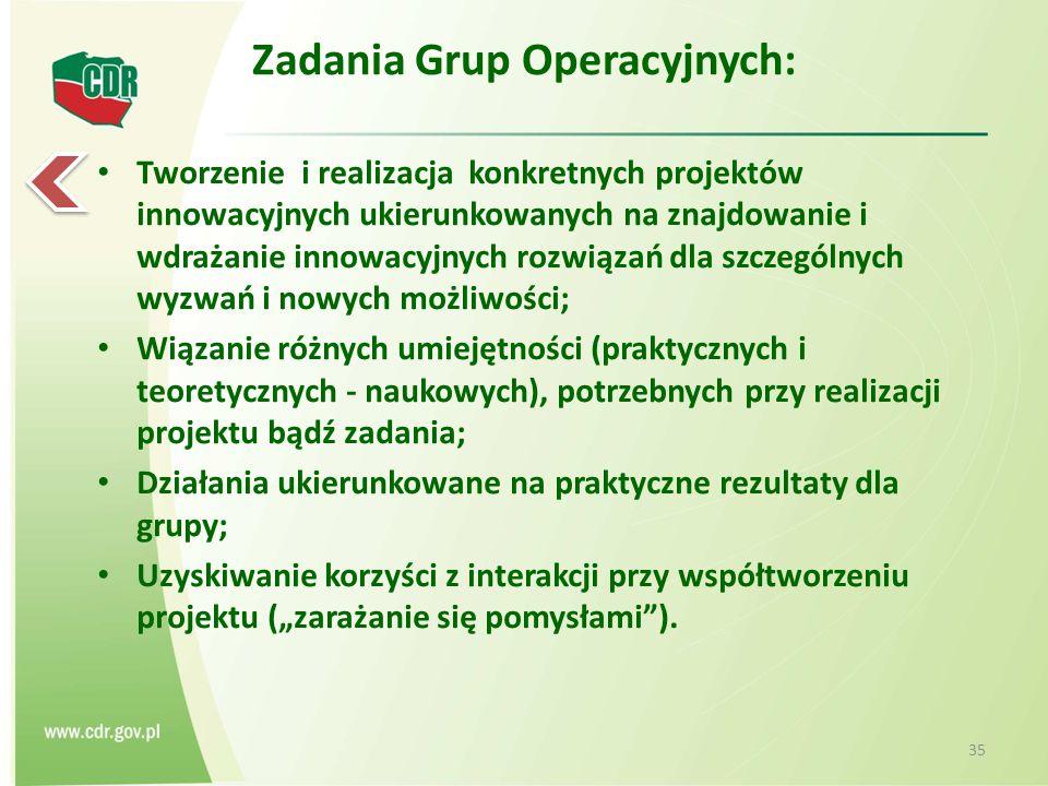 Zadania Grup Operacyjnych: