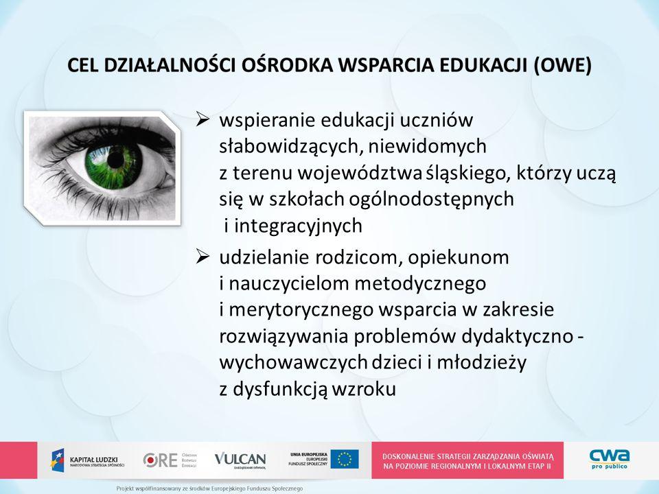 wspieranie edukacji uczniów słabowidzących, niewidomych z terenu województwa śląskiego, którzy uczą się w szkołach ogólnodostępnych i integracyjnych