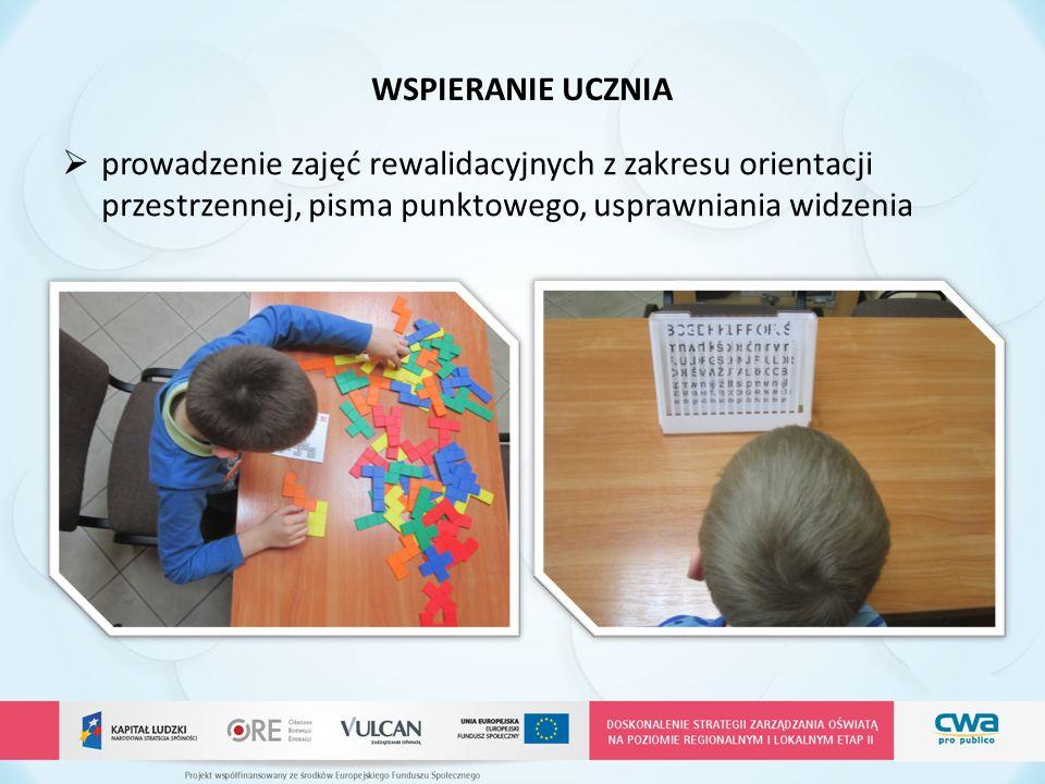 WSPIERANIE UCZNIA prowadzenie zajęć rewalidacyjnych z zakresu orientacji przestrzennej, pisma punktowego, usprawniania widzenia.