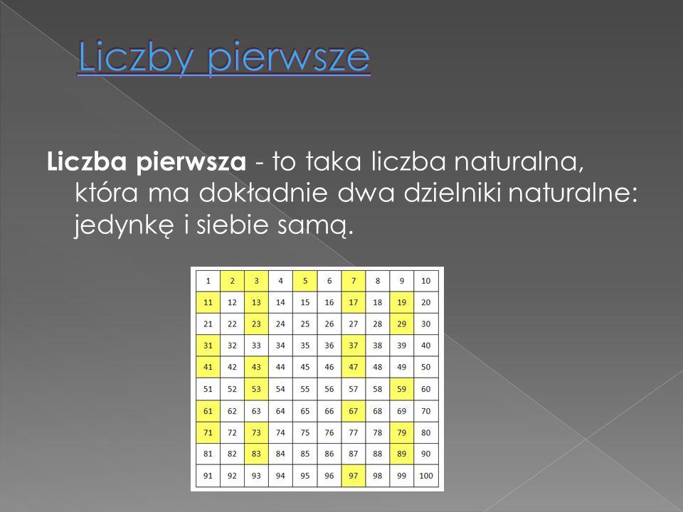 Liczby pierwsze Liczba pierwsza - to taka liczba naturalna, która ma dokładnie dwa dzielniki naturalne: jedynkę i siebie samą.