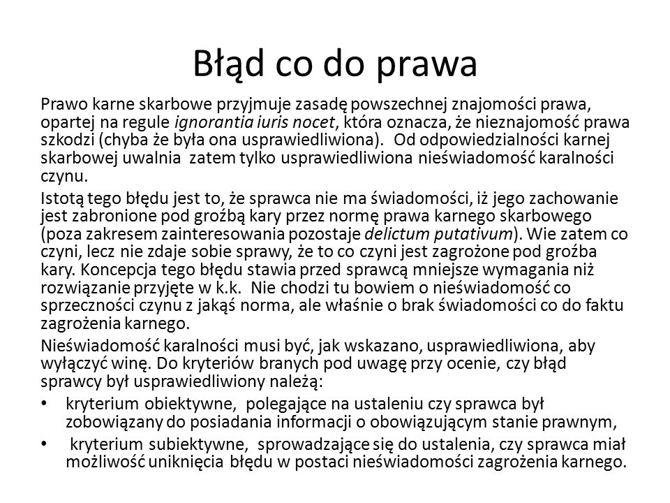 Błąd co do prawa