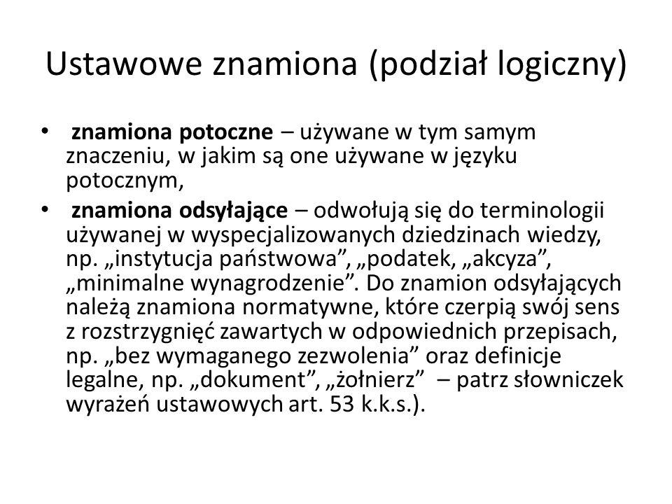 Ustawowe znamiona (podział logiczny)