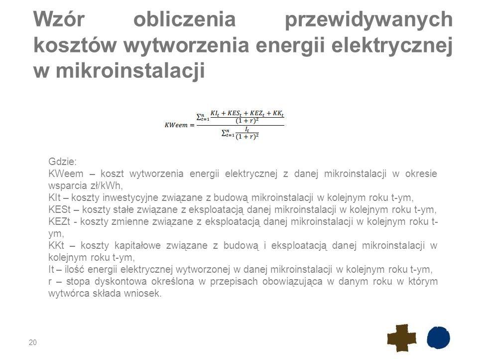 Wzór obliczenia przewidywanych kosztów wytworzenia energii elektrycznej w mikroinstalacji