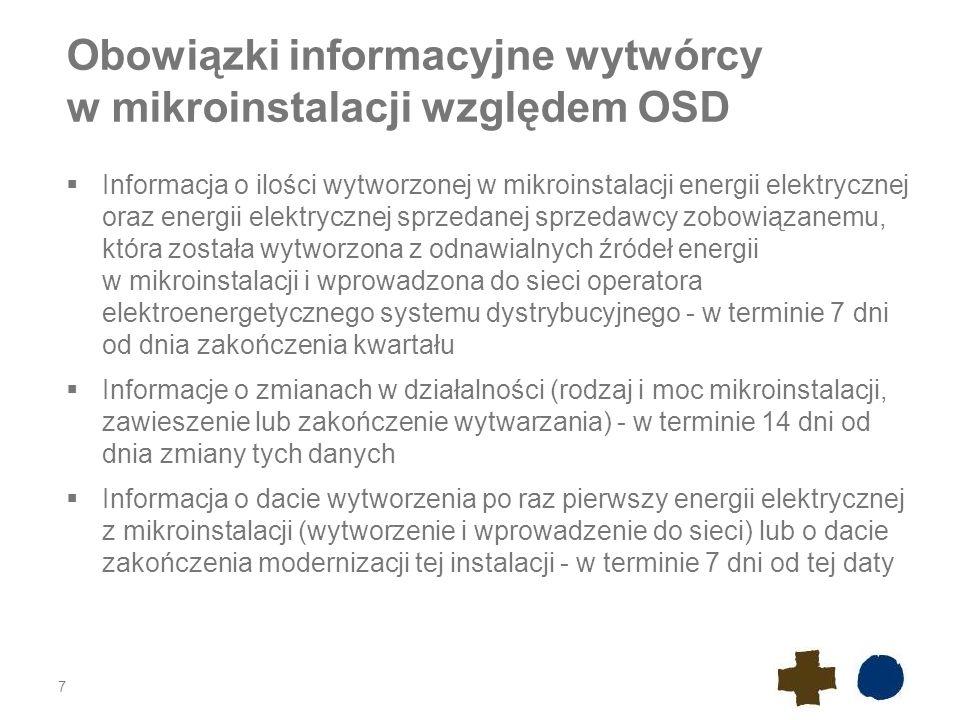 Obowiązki informacyjne wytwórcy w mikroinstalacji względem OSD