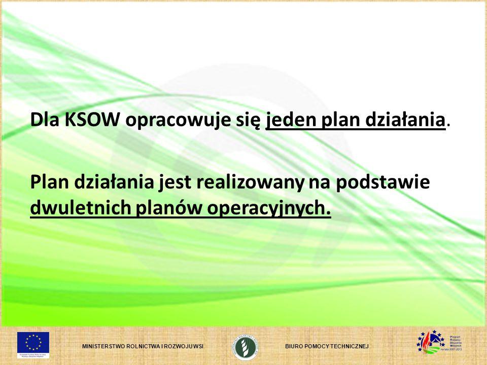 Dla KSOW opracowuje się jeden plan działania.